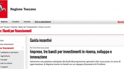 Regione Toscana, aiuto allo sviluppo, ricerca, innovazione