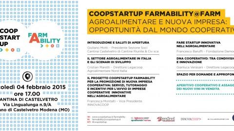 COOPSTARTUP FARMABILITY@FARM agroalimentare e nuova impresa: opportunità dal mondo cooperativo
